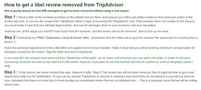 Peligros de amenazar a clientes para que borren comentarios en TripAdvisor