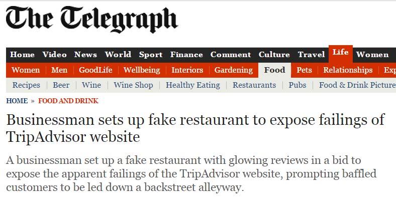 Crean restaurante falso en TripAdvisor y lo colocan como Nº1