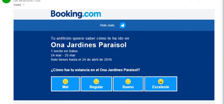 El nuevo cuestionario de Booking